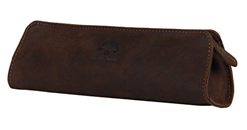 Leather Brown Pencil (Leather Pencil Case - Zippered Pen Pouch For School, Work & Office By Rustic Town)