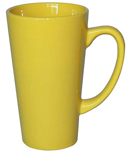 ITI Ceramic Tall Funnel Cup Coffee Mugs with Pan Scraper, 16 Ounce (4-Pack, Yellow)