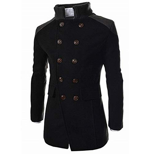(Men Pea Coat Winter Long Trench Coat Double Breasted Smart Jacket Outwear with Pocket by Lowprofile)