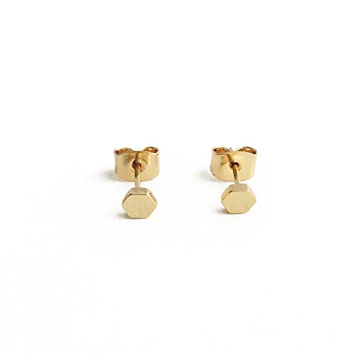 - HONEYCAT Tiny Hexagon Honeycomb Stud Earrings in 24k Gold Plate | Minimalist Delicate Jewelry (Gold)