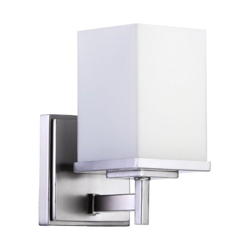 Quorum International 5484-1-65 Bathroom Sconces with Satin Opal Shades, Nickel