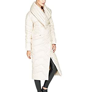 Women's Down Jacket Windproof and Cold-Proof Large Fur Collar in The Long Section of Thick Zipper Women's Clothing (Color : Beige, Size : L)