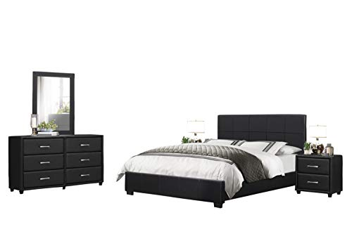 Langtry 5PC Bedroom Set Cal King Platform Bed, Dresser, Mirror, 2 Nightstand in Black Vinyl