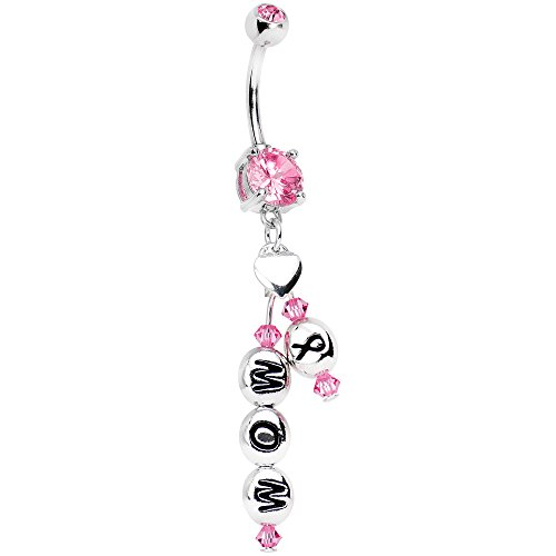 Body Candy Handcrafted Pink Accent Mom Breast Cancer Awareness Ribbon Dangle Belly Ring