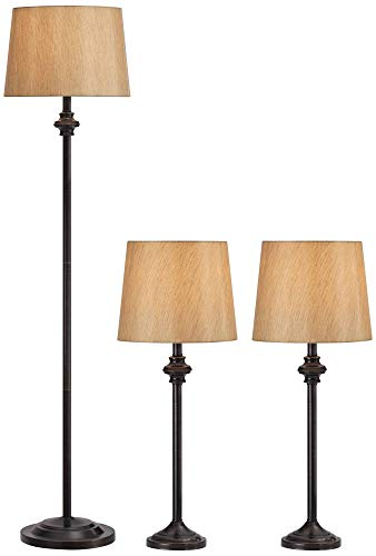 Griffith Traditional Table Floor Lamps Set of 3 Dark Bronze Metal Gold Fabric Drum Shade for Living Room Family Bedroom - Regency Hill - Ivory Traditional Floor Lamp