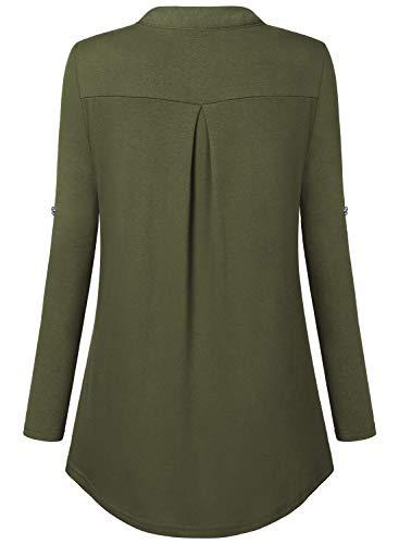 Bulotus Women's Plus Size Solid 3/4 Sleeve Zipper Top Casual Shirt,Green,XX-Large by Bulotus (Image #4)