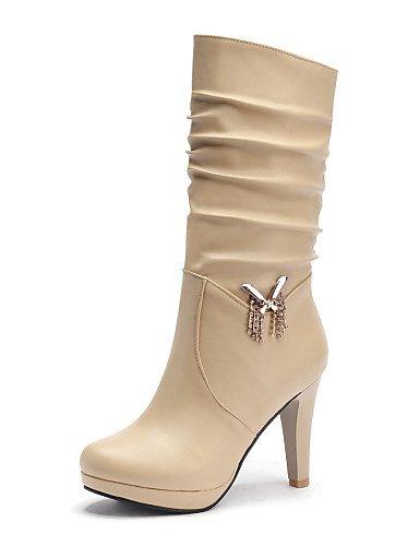 us8 Moda Almond beige Stiletto Mujer Brown Negro Xzz Eu39 Uk6 us8 Zapatos Botas Redonda Semicuero A Punta Vestido La Cn39 Tacón De marrón botas pwPfU