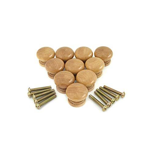 Bezall 10pcs Cabinet Knobs, Round Wood Drawer Knobs Cupboard Wardrobe Door Pulls Handles Furniture Hardware (0.94x0.79 Inches - Natural)