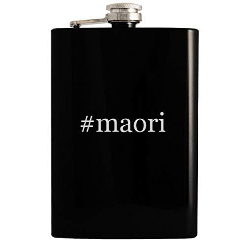 #maori - 8oz Hashtag Hip Drinking Alcohol Flask, Black
