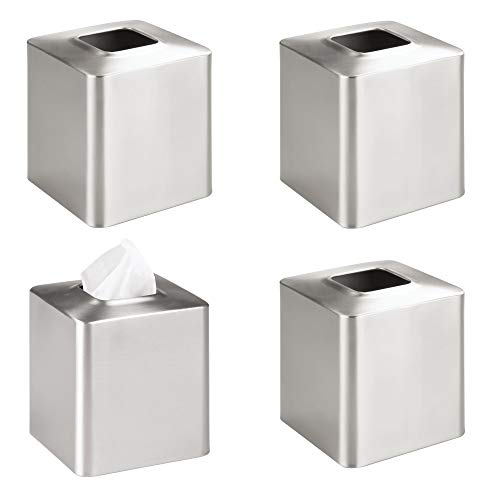 mDesign Square Paper Facial Tissue Box Cover Holder for Bathroom Vanity Countertops, Bedroom Dressers, Night Stands, Desks and Tables, 4 Pack - Brushed Stainless Steel