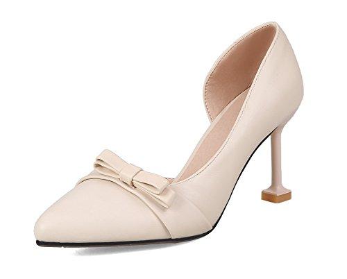 AllhqFashion Tirare Chiusa Tacco Flats Luccichio Ballet Donna Alto Punta Beige nx4rq4f7
