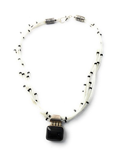 Masha Sterling Silver Necklace Pendant By Designer White Bamboo Coral, Onyx, Made in USA - Exclusive Southwestern Handmade Jewelry, 6 Strand Wedding Gift