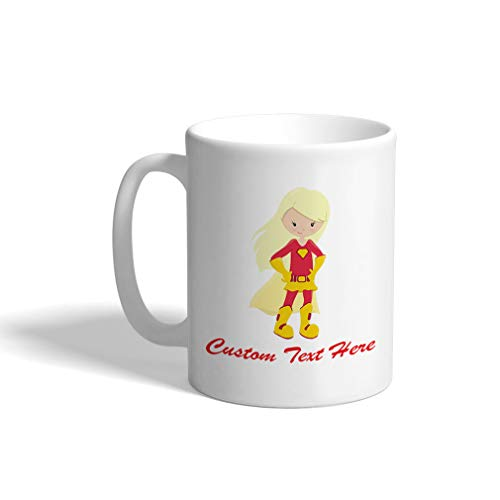Custom Funny Coffee Mug Coffee Cup Super Girl Red Costume Blonde White Ceramic Tea Cup 11 Ounces Personalized Text Here
