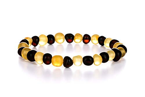 AMBERAGE Natural Baltic Amber Bracelet for Adults (Women/Men) - Hand Made from Raw-Unpolished/Certified Baltic Amber Beads(6 Colors) (8, Raw-Unpolished Lemon- Dark - Cherry Adult