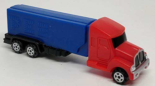 Pez Rigs Semi Truck Conventional red truck with blue trailer V Grille Candy Dispenser