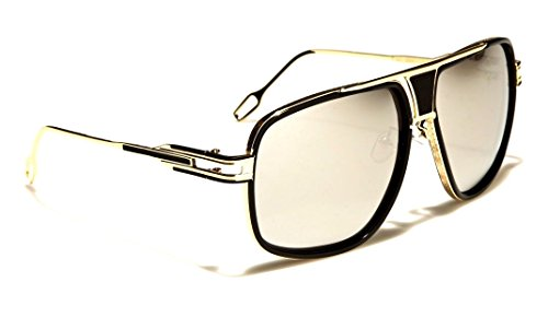 Gazelle Tycoon Aviator Sunglasses w/ Multicolor Lenses (Black & Gold, Silver - Glasses And Snapback