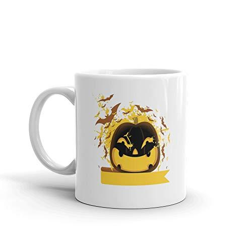 Halloween Pumpkin With Bats Horror Film Tea Mugs Ceramic Cups -