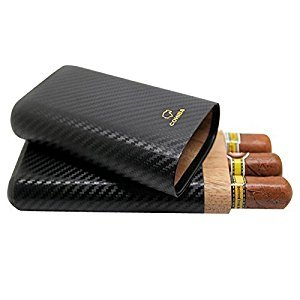 Dakoufish Carbon Fiber Leather 3 Tube Wooden Cigar Case/Holder Travel Humidor
