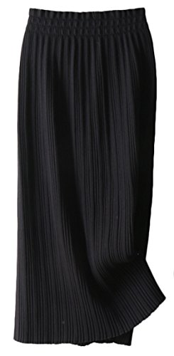 Youhan Women's Winter Elastic Pleated Cable Knit Long Skirt (Free Size, Black)