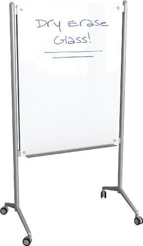 Best-Rite Enlighten Mobile Glass Whiteboard Easel, Double Sided Dry Erase Glass, Surface: 47.24