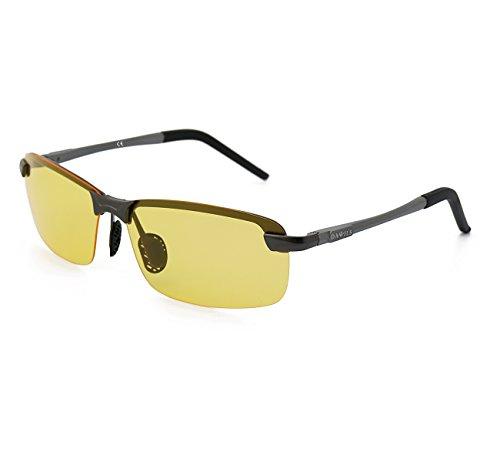 Metal UV400 Sol de de 1 Polarizadas y Gafas Para Irrompible Amarillo Gris Ultraligero DAWILS Marco Hombre SIFwPA
