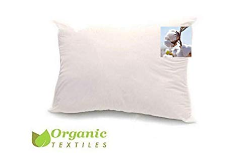 100% Organic Cotton Pillow, Medium Filled (Queen Size) with GOTS Certified Organic Cotton Cover Protector, Zippered, Adjustable Loft, Toxic Free, Machine Washable, Head and Neck Comfort Support