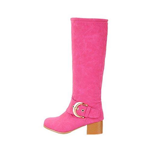 AllhqFashion Damen Hoch-Spitze Ziehen auf Mattglasbirne Mittler Absatz Rund Zehe Stiefel, Pink, 42