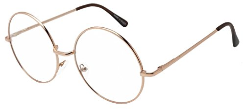 Round Double Metal Wire No Prescription Oversized Sunglasses Clear Lens Gold Circle Frame Glasses (Rose Gold, - Circle Wire Glasses Frame
