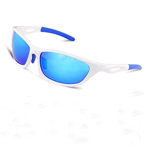 Duco Polarized Sunglasses for all Outdoor sports and 100% TR 90 Flexible Frame 6211 White Frame Revo Blue Lens