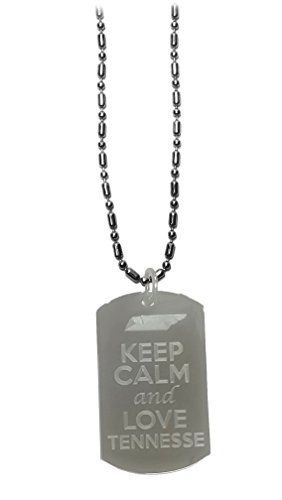 Hat Shark Keep Calm and Love Tennessee State Logo - Military Dog Tag, Luggage Tag Metal Chain Necklace