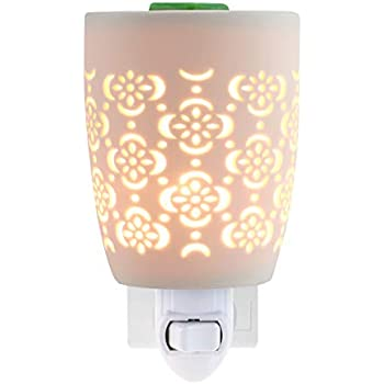 STAR MOON Pluggable Fragance Ceramic Wax Melt Night Light Warmer No fire Hazard Packed with Two Bulbs - Flower Hollow Design Pattern