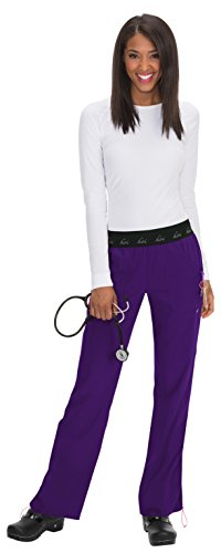 KOI Lite Women's Spirit Logo Elastic Waistband Scrub Pant Large - Scrubs Purple Bottoms
