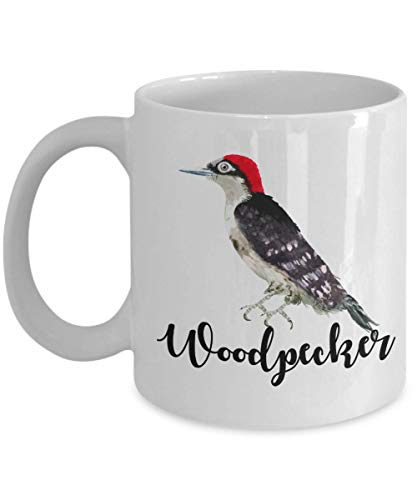 Woodpecker Bird Watercolor Paint Art Coffee & Tea Gift Mug, Décor, Ornaments, Products, Christmas Party Gifts, Birds Print Decoration & Accessories For Men & Women Birdwatchers Who Love Woodpeckers ()