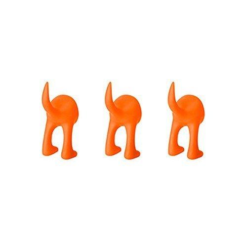 Hook Orange (Ikea Set of 3 Dog Tail Hooks Hat Coat Key Wall Mounted Hanger (Orange))