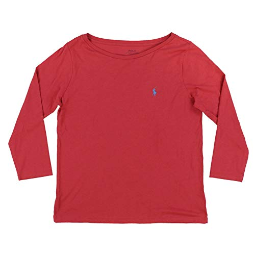 Polo Ralph Lauren Womens 3/4 Sleeve Boat Neck T-Shirt (Medium, Nantucket Red)