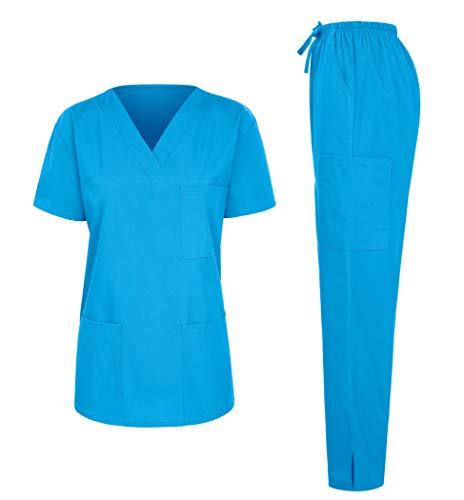 7047 Womens Scrub Sets Uniform Medical Scrubs Top and Pants Sky Blue XL