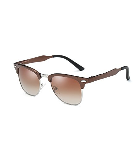 Dollger Polarized Sunglasses Half Frame Horn Rimmed Brown - Frames Rimless For Semi Women