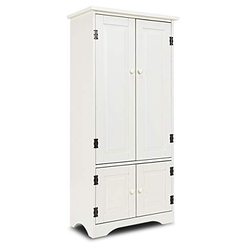 KCHEX>>>Accent Storage Cabinet Adjustable Shelves Antique 2 Door Floor Cabinet White>The cabinet features an antique finish color and brings elegance and classic style to your home decor. (Inch 49 Cabinet Storage)