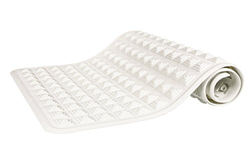 Premium Non-Toxic TPE Textured Tub Mat with Suction Cups, 16 x 32 in. long - White