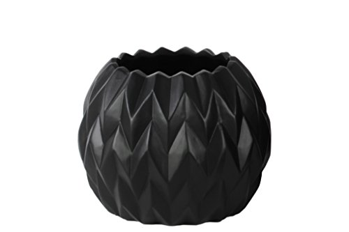 Urban Trends Ceramic Round Low Vase with Uneven Lip and Embossed Wave Design, Small, Matte Black