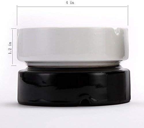 SRX 灰皿のシンプルでモダンなスタイルの中国の陶磁器灰皿大灰皿ラウンドヘイズ(色:ブラック)