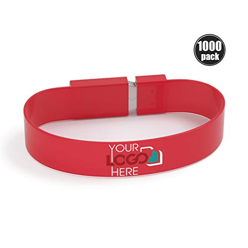 Possibox Custom Wristband USB Flash Drive 64GB Printed with Your Logo - as Promotional Gift - Bulk USB 3.0 - Red 1000 Pack