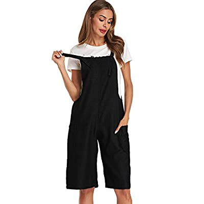 StyleDome Women's Baggy Overalls Casual Bid Loose Wide Leg Jumpsuit Rompers Pants with Pockets: Clothing