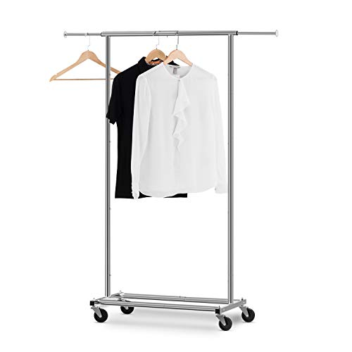 - Bextsware Clothes Rack Multi-Function Garment Rack, Heavy Duty Commercial Grade Clothes Rolling Rack on Wheels with Expandable Collapsible Clothing Rack,Holds up to 150 lbs, Chrome