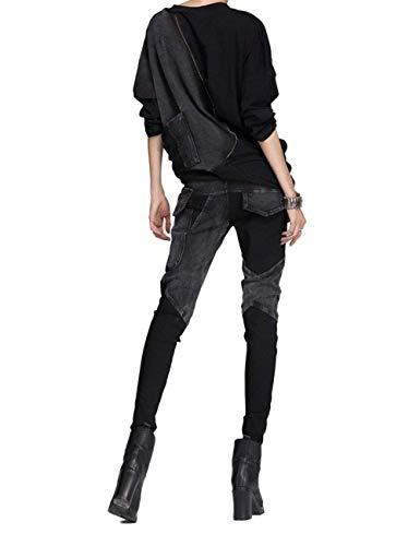 Elasticizzati Bolawoo Frontali Schwarz Marca Jeans Con Pantaloni Bottoni Esterni Donna Tasche Di Slim Da Fit Mode CwpaqPnw