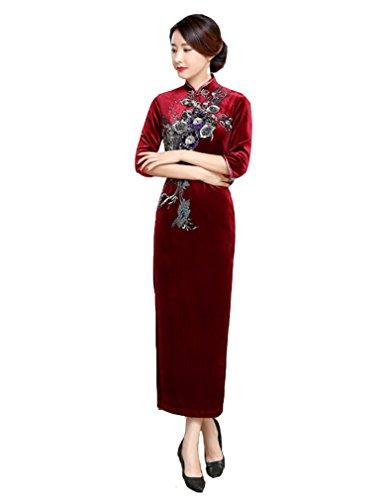Rouge Chinois Classique Cheongsam Motif Traditional Elégant Fleur Robe Qipao Longue Velours Acvip Floral Femme qnwBt6ZO