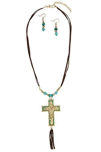 GlitZ Finery Hammered Accent Cross Pendant Double Faux Suede Cord Necklace Se (Gold)
