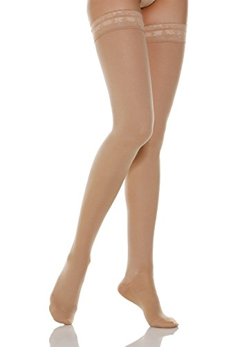 (Alpha Medical 15-20 mmHg Medium Compression Sheer Thigh High Stockings, Graduated Compression & Support Hosiery. Fine Italian Made Quality (Size 3 Nude))
