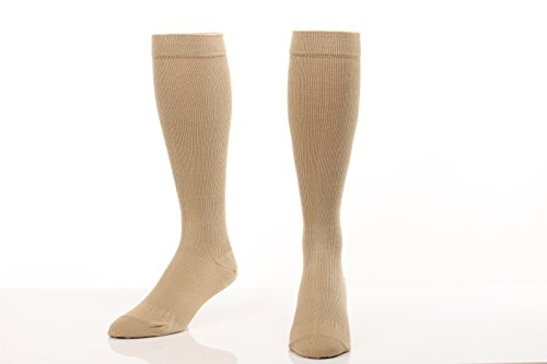Graduated Cotton Compression Socks - Unisex Firm Support 20-30mmHg, Support Knee High's - Closed Toe, Color, Khaki, Size, Large- Absolute Support, SKU: A105 - Khaki Unisex Socks