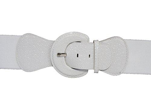 TFJ Women's Elastic Belt Faux Leather Hip High Waist Big Round Buckle White M L (M-xl)